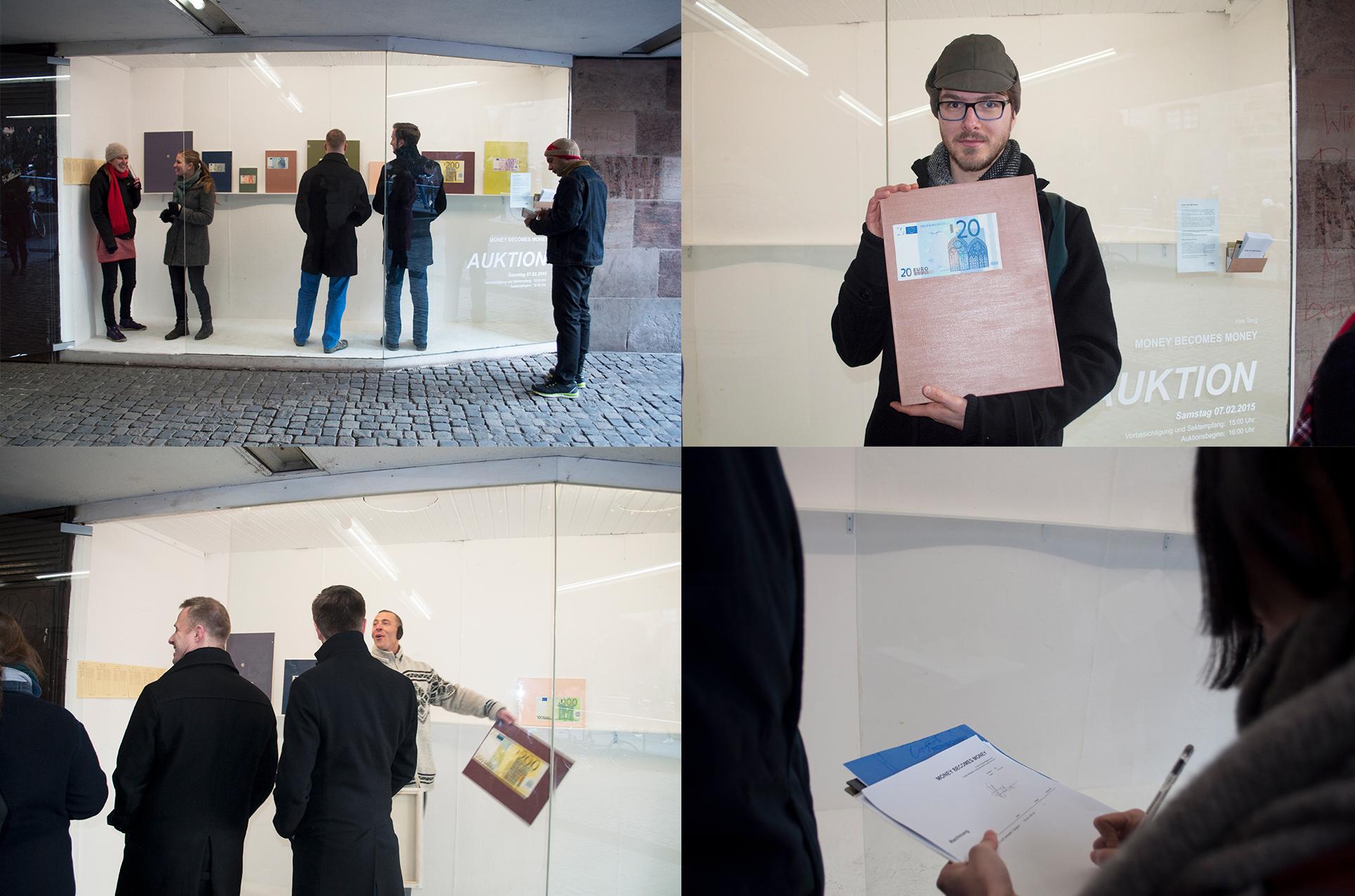 Tang Han: MONEY BECOMES MONEY, Exhibition View, Vitrine, Nürnberg (2015)